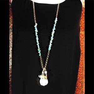 Chicos gold and turquoise elephant necklace
